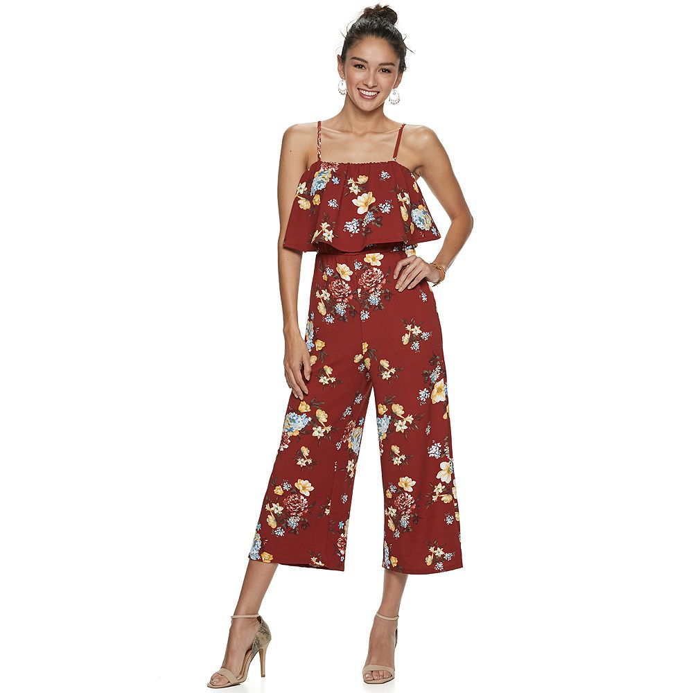 Juniors' Almost Famous Floral Flounce Jumpsuit