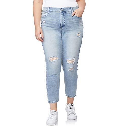 Juniors' Plus Size WallFlower Distressed Tomboy Jeans