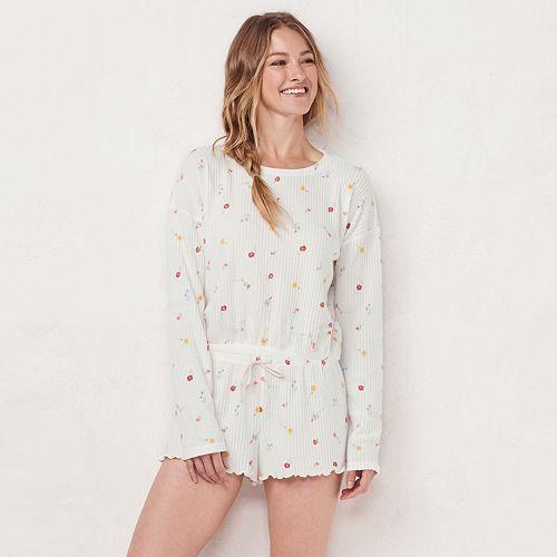 Women's LC Lauren Conrad Thermal Crop Pajama Top & Pajama Shorts Set