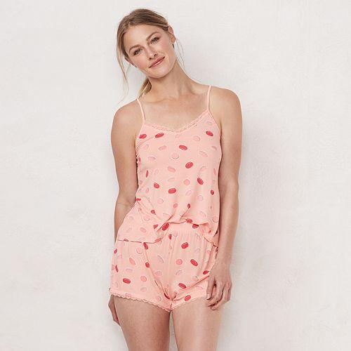 Women's LC Lauren Conrad Lace Trim Sleep Cami & Pajama Shorts Set