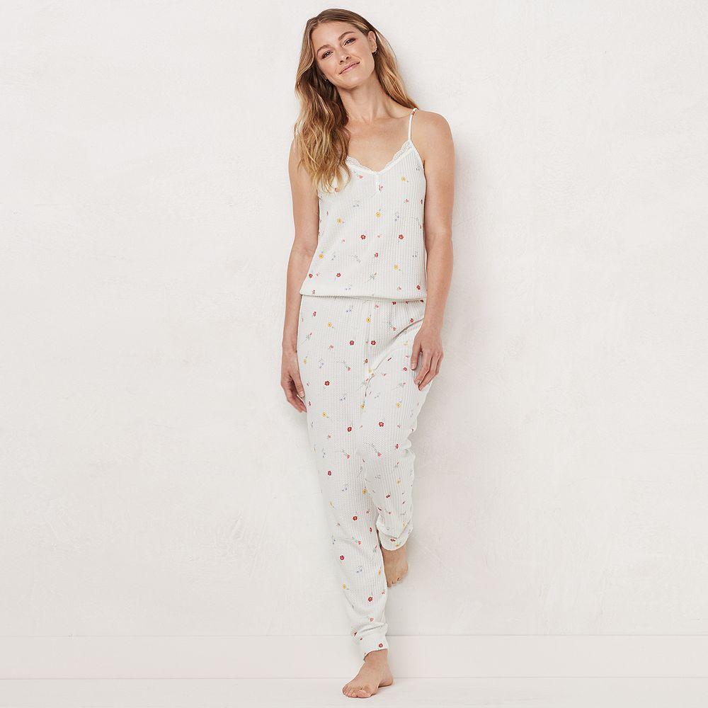 Women's LC Lauren Conrad Strappy Thermal One-Piece Pajamas