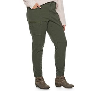 Juniors' Plus Size Unionbay Twill Moto Skinny Pants