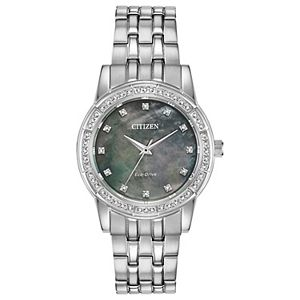 Citizen Eco-Drive Women's Silhouette Crystal Accent Stainless Steel Watch - EM0770-52Y