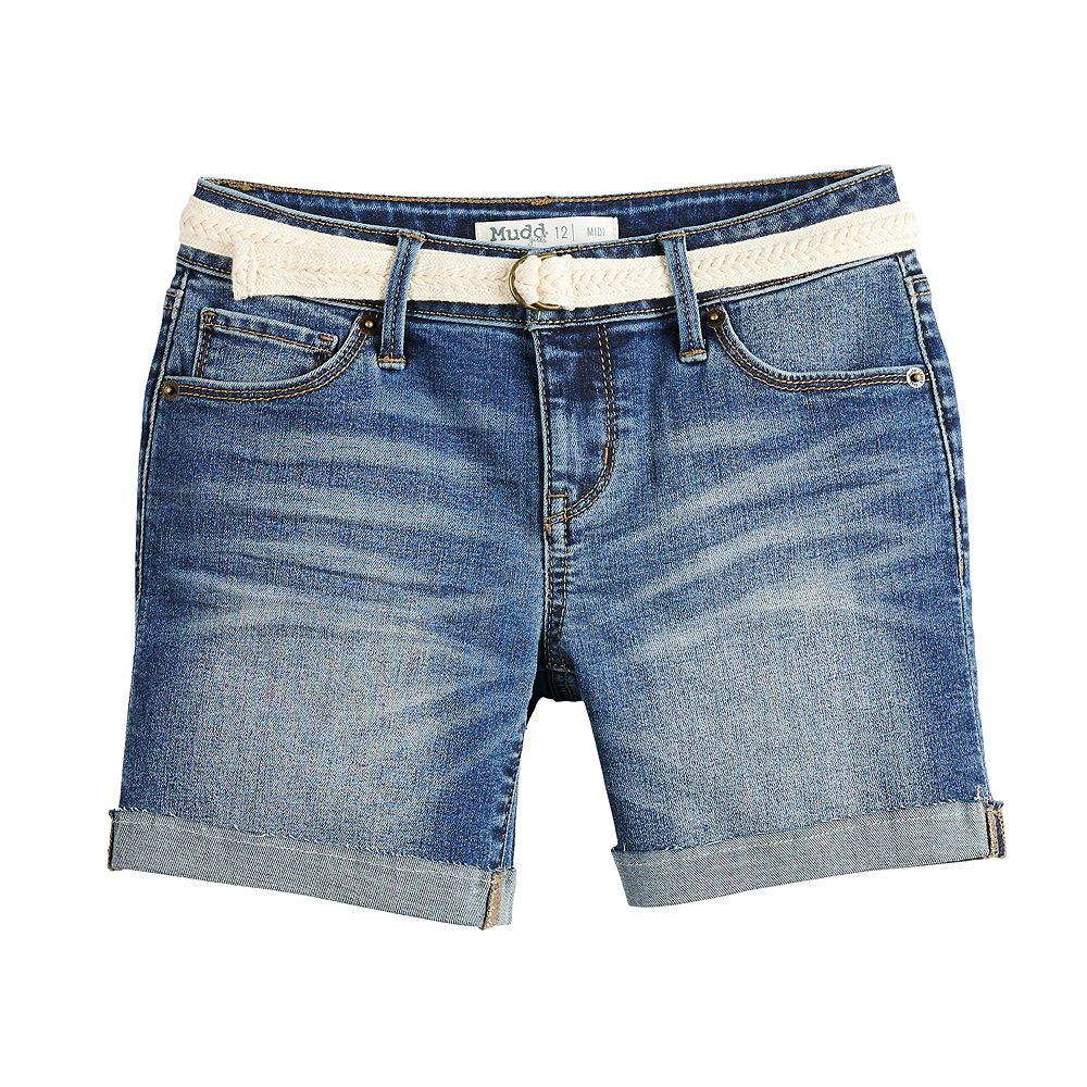 Girls 7-16 & Plus Size Mudd® Belted Denim Midi Shorts