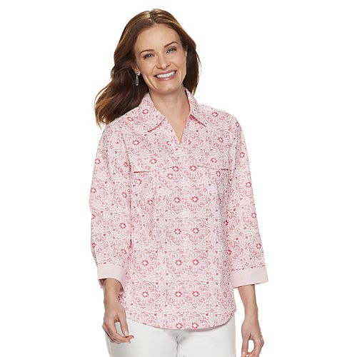 Women's Croft & Barrow® Print Knit-to-Fit Shirt