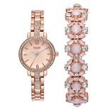 Folio Women's Rose Gold Tone Watch & Pink Glitz Bracelet Set