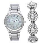 Folio Women's Silver Tone Watch & Glitz Bracelet Set