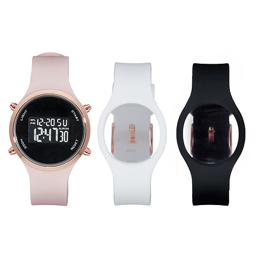 FolioWomen's Silicone Digital Watch & Interchangeable Band Set