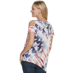 Women's World Unity Cold-Shoulder Asymmetrical Hem Top