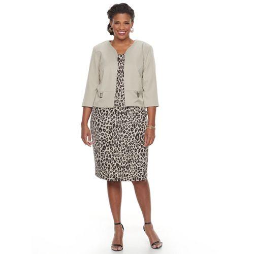 Plus Size Maya Brooke Animal Sheath Dress & Solid Jacket Set