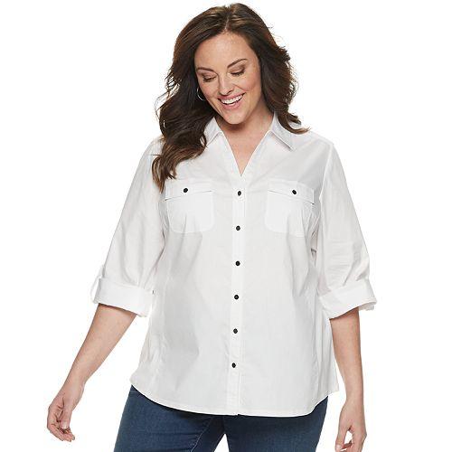 Plus Size Croft & Barrow® Solid Roll-Tab Shirt