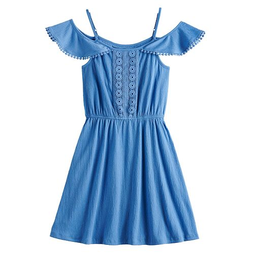 Girls Mudd® Crinckle Knit Cold Shoulder Dress