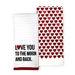 "Celebrate Valentine's Day Together ""Love You to the Moon and Back"" Kitchen Towel 2-pk."