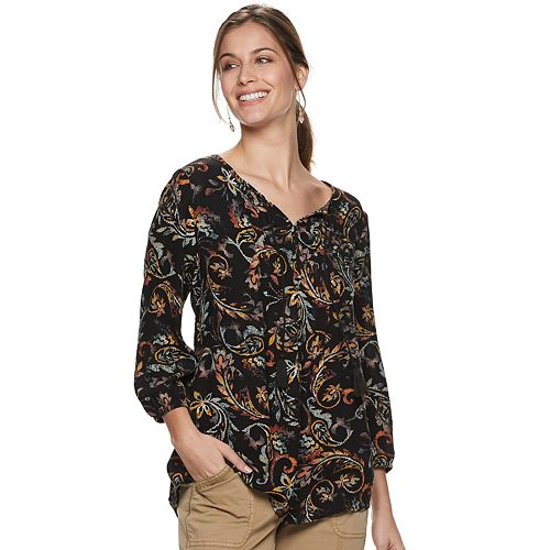 Women's SONOMA Goods for Life™ Print Pintuck Peasant Top
