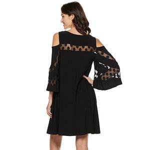 Women's Nina Leonard Lace Cold-Shoulder Shift Dress