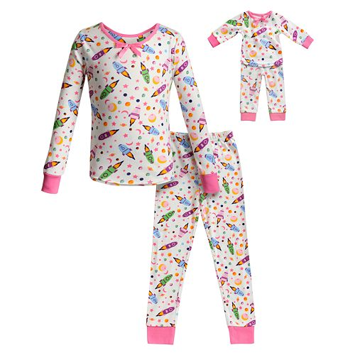 Girls 4-14 Dollie & Me Top & Bottoms Pajama Set & Matching Doll Pajama Set