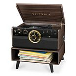 Victrola 6-in-1 Wood Bluetooth Mid Century Record Player With 3-Speed Turntable & Storage Stand