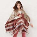 Women's LC Lauren Conrad Brushed Plaid Ruana Topper