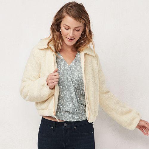 Women's LC Lauren Conrad Zip Front Sherpa Jacket