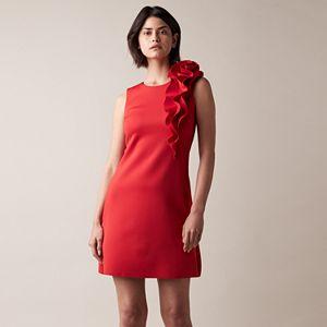 Petite JW Jason Wu Ruffle Shoulder A-Line Dress