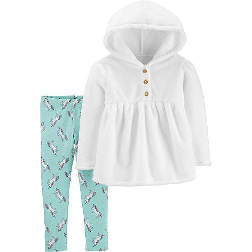 Baby Girl Carter's 2-Piece Fuzzy Hooded Top & Unicorn Legging Set