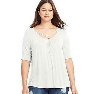 Plus Size East Adeline by Dia&Co Knit Lattice Top