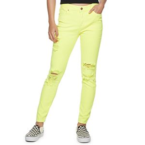 Juniors' Almost Famous High Rise Skinny Neon Pants