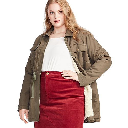 Plus Size East Adeline by Dia&Co Sherpa-Lined Utility Jacket