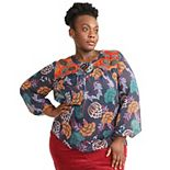 Plus Size East Adeline by Dia&Co Mixed Print Splitneck Blouse