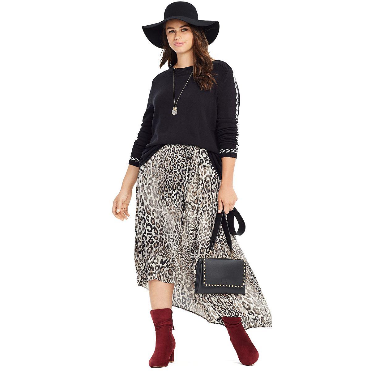 Plus Size East Adeline by Dia&Co High-Low Faux Wrap Maxi Skirt 5zt7p