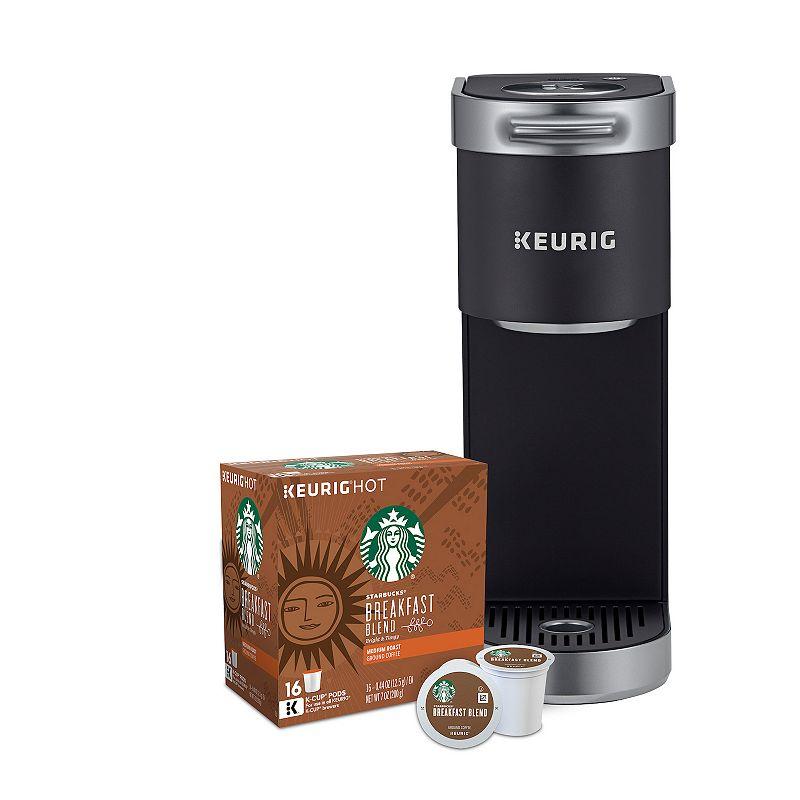 Keurig K-Mini Plus Single-Serve K-Cup Pod Coffee Maker & Starbucks Breakfast Blend Keurig K-Cup Pods 16-pk., Black