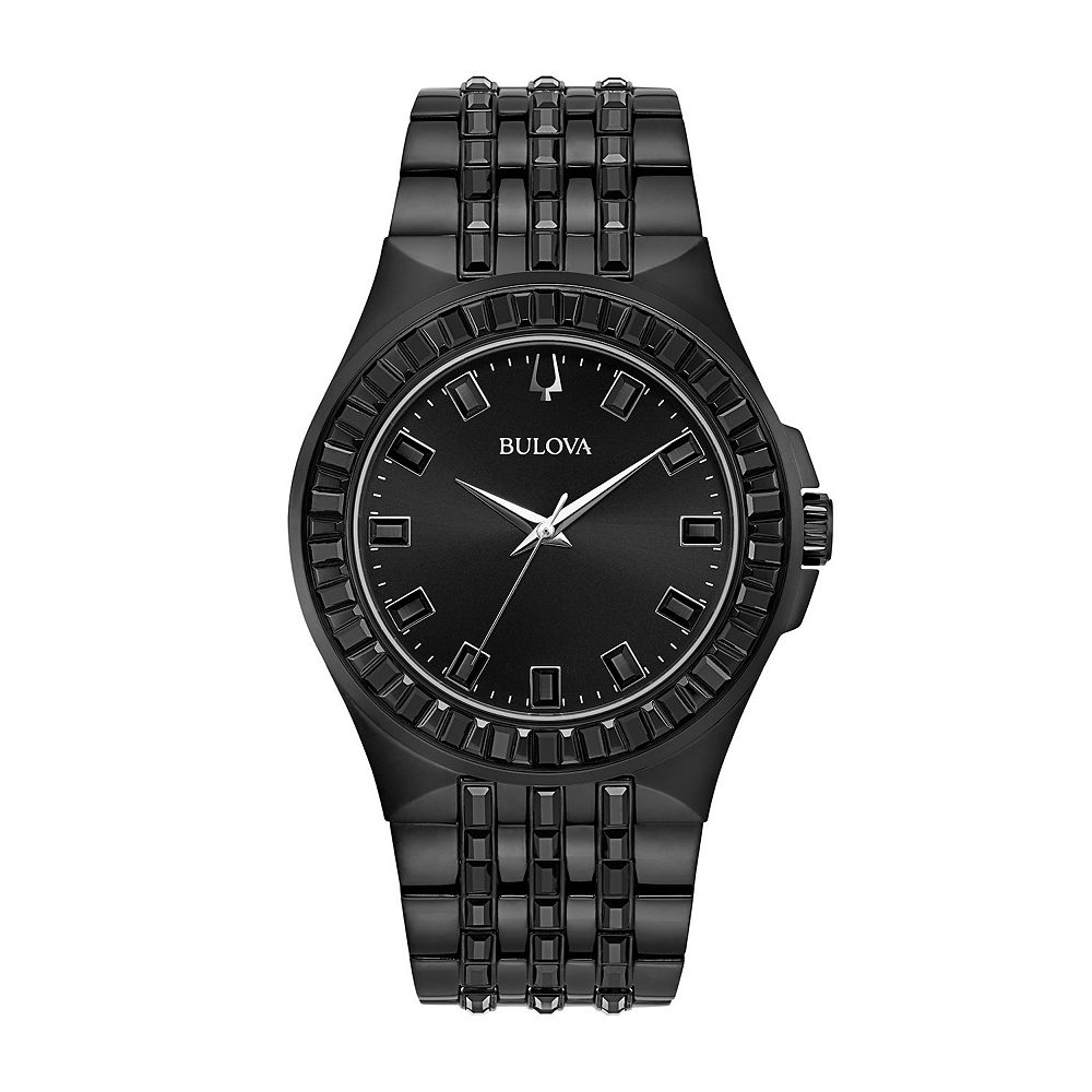 Bulova Men's Black Crystal Accent Stainless Steel Watch - 98A240