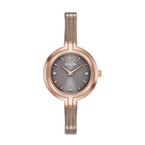 Bulova Women's Rhapsody Diamond Accent Leather Watch - 97P143