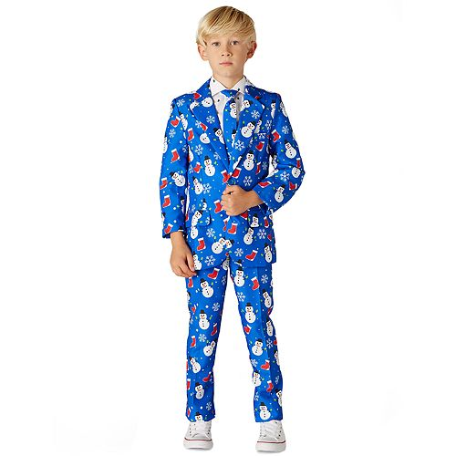 Boys 4-16 Suitmeister Christmas Blue Socks Snowman Christmas Suit