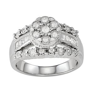 Sterling Silver 1/2 Carat T.W. Diamond Ring