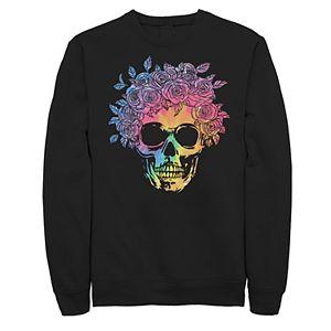 Juniors' Skull Tie Dye Flowers Fleece