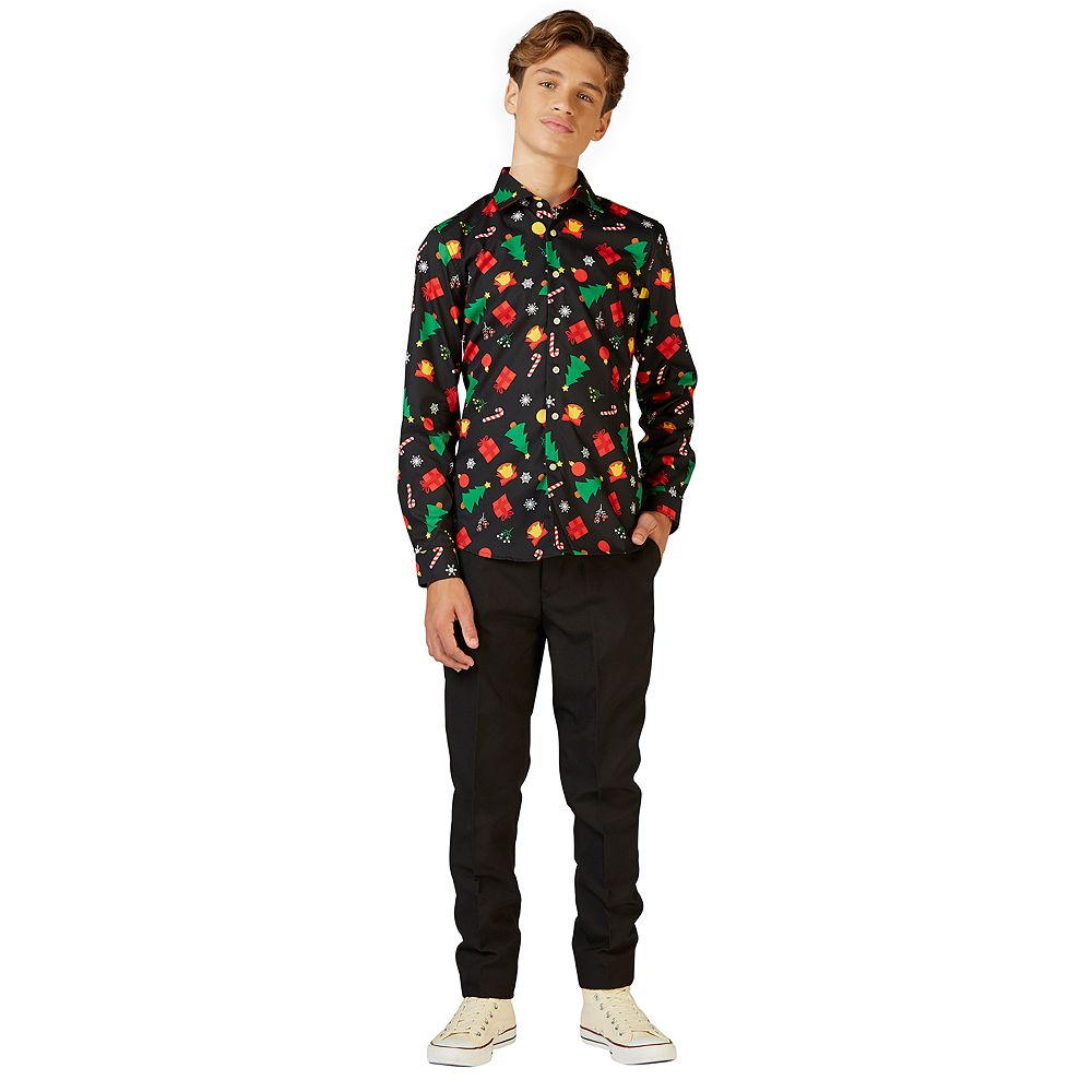 Boys 10-16 OppoSuits Christmas Icons Black Shirt