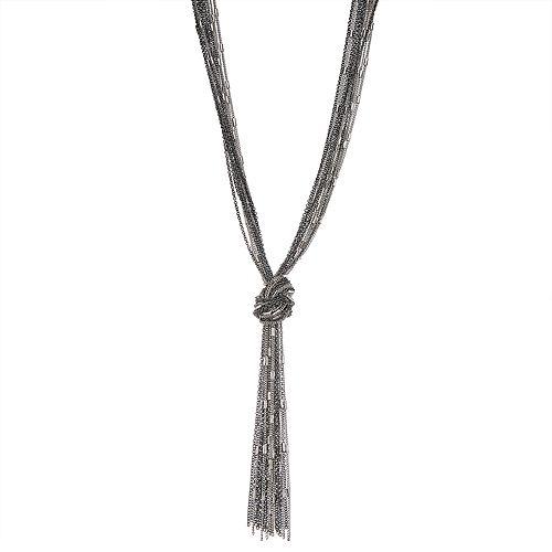 Two Tone Multi Chain Knot Pendant Necklace