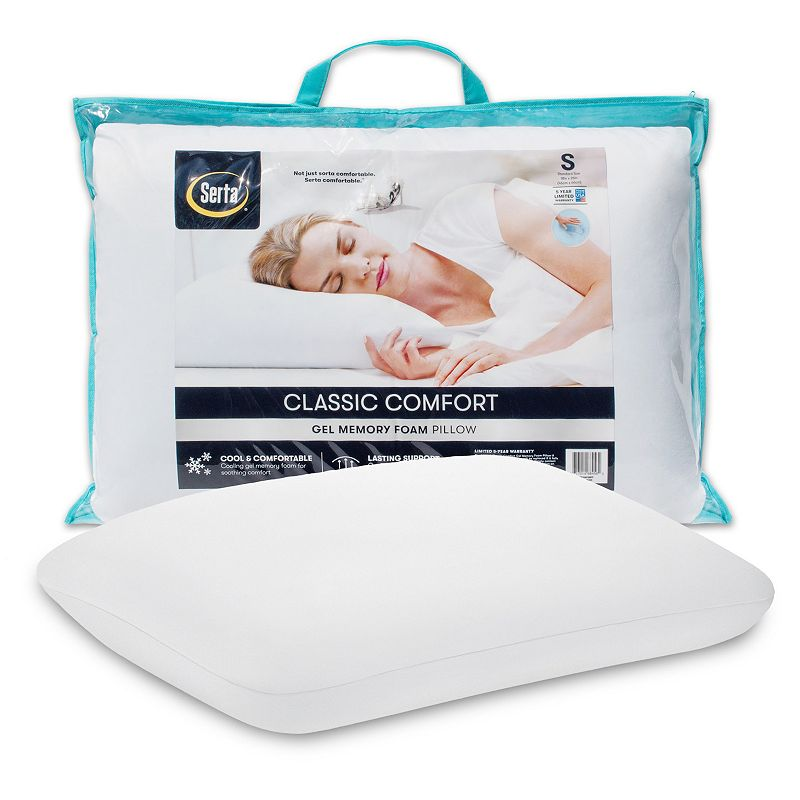 Serta Classic Comfort Gel Memory Foam Pillow. White. Queen