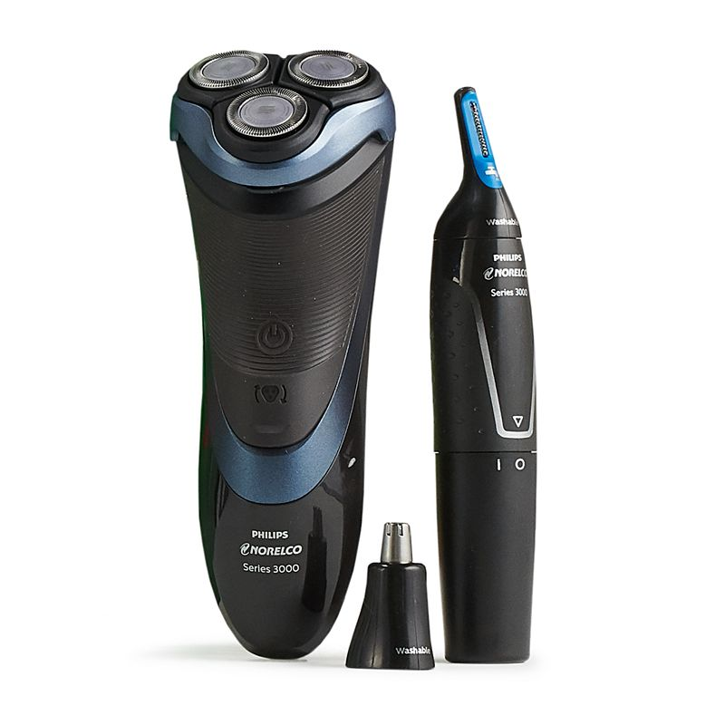 Get an easy and convenient shave with more comfort with this Philips Norelco Men\\\'s Shave & Trim Gift Set with Shaver 3700 & Trimmer 3500. Get an easy and convenient shave with more comfort with this Philips Norelco Men\\\'s Shave & Trim Gift Set with Shaver 3700 & Trimmer 3500. Shaver removes facial hair, trimmer removes ear hair, nose hair, trims hair on face and head 4-direction Flex Heads, combined with a ComfortCut Blade System, guarantee a smooth result Wet or dry shave The Nose Trimmer 3500 quickly and comfortably trims nose, ear and eyebrow hair with no pulling guaranteed Advanced trimming system shields the blades from the skin, protecting you from nicks, cuts and pulling Lithium-powered trimmer includes two interchangeable trimming elements: 1) a dedicated nose trimmer and 2) a skin-friendly precision trimmer Trimmer is fully washable, so simply rinse it under the faucet for easy cleaning Two eyebrow guards are included, so you can evenly trim both short and longer lengths Powerful Lithium battery delivers maximum, long-lasting performance A storage pouch is also included for convenient storage WHAT\\\'S INCLUDED Philips Norelco Shaver 3700 Electric shaver Charging cord Protective cap Precision trimmer Nose trimmer attachment Two eyebrow gaurds AA lithium battery Storage pouch Rechargeable battery Battery life: 50 min. Battery charge time: 1 hr. Manufacturer\\\'s 2-year limited warranty. For warranty information please click here Model no. BDL010-KH Size: One Size. Color: Multicolor. Gender: male. Age Group: adult.