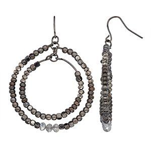 SONOMA Goods for Life Jet Tone Multi Beaded Double Hoop Fishhook Earrings