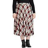 Plus Size Chaps Plaid Midi Skirt