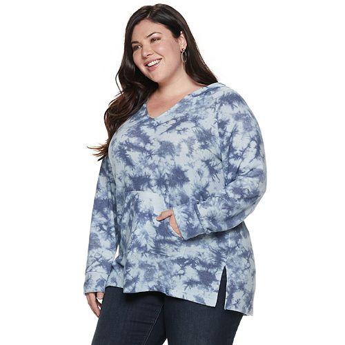 Plus Size French Laundry Printed Raglan Hooded Sweatshirt