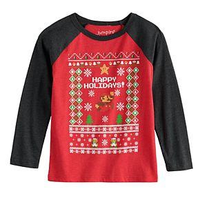 Boys 4-12 Jumping Beans® Super Mario Bros. Holiday Long-Sleeve Tee