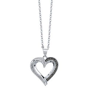 Brilliance Two-Tone Heart Pendant Necklace with Swarovski Crystals
