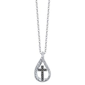 Brilliance Cross Two Tone Drop Pendant Necklace With Swarovski Crystals