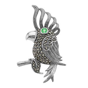 Lavish by TJM Sterling Silver Green Cubic Zirconia & Marcasite Cockatoo Bird Brooch