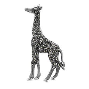 Lavish by TJM Sterling Silver Cubic Zirconia & Marcasite Giraffe Brooch