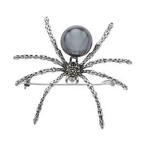 Lavish by TJM Sterling Silver Hematite & Marcasite Spider Brooch