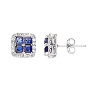 Pure Radiance Lab-Created Sapphire & Diamond Accent Square Stud Earrings